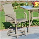 Agio Monterey 3 3 Piece Dining Set with 2 Swivel Extruded Aluminum Chairs with Woven Fabric Seat Insert and 32