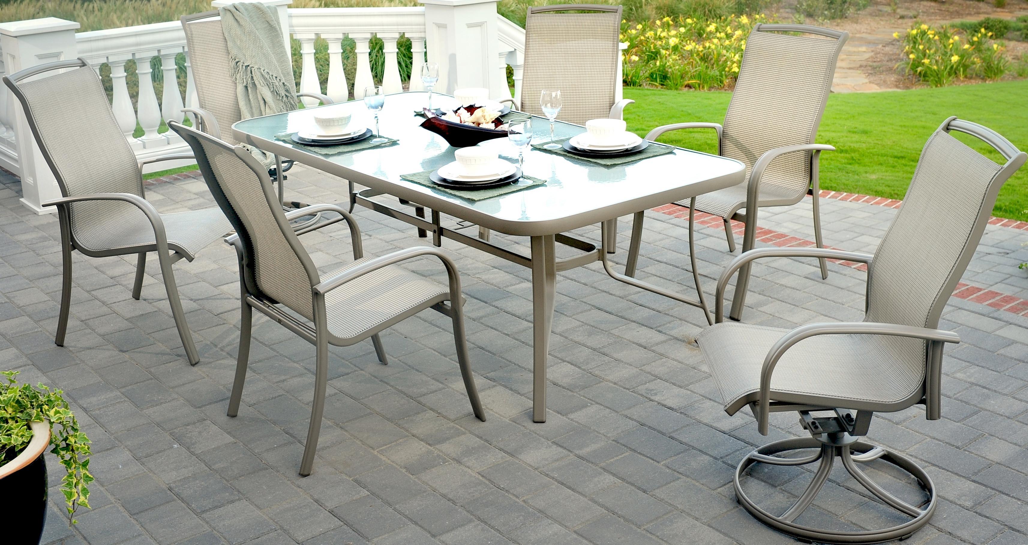 Incredible Agio Monterey 3 7 Piece Outdoor Dining Set With 4 Sling Frankydiablos Diy Chair Ideas Frankydiabloscom