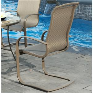 Agio monterey 3 outdoor sling swivel rocker dining chair for Agio sling chaise lounge