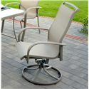 Agio Monterey 3 Outdoor Sling Swivel Rocker Dining Chair with Woven Fabric and Extruded Aluminum Frame - 0133355