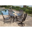 Agio Parkdale 5 Piece Round Dining Table and Chair Set - Item Number: ALV28915P01+2xADV11801P01+2x0P01
