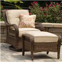 Apricity Outdoor Pinehurst Steel Woven Swivel Glider - BGS13123 - Shown with Ottoman