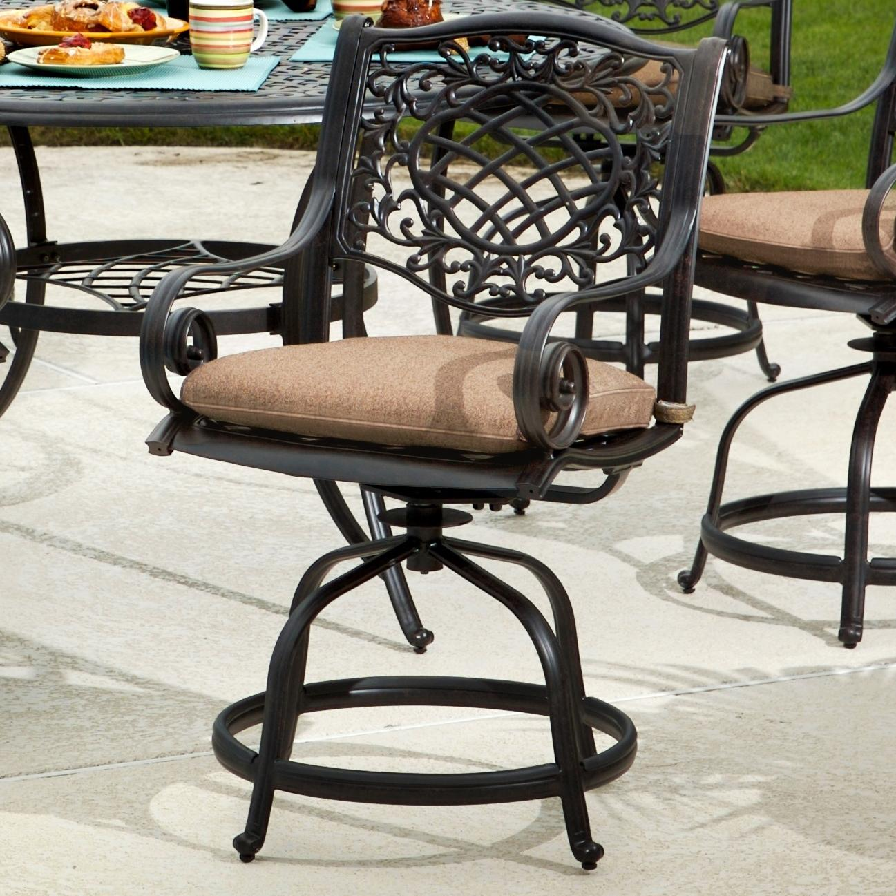 Agio Rochester Outdoor Alumicast Balcony Gathering Height Swivel Chair With  Seat Pad
