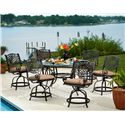 Agio Rochester  Outdoor Alumicast Balcony Gathering Height Swivel Chair With Seat Pad - 50-1585791-1188A - Shown in 7-Piece Gathering Height Dining Set