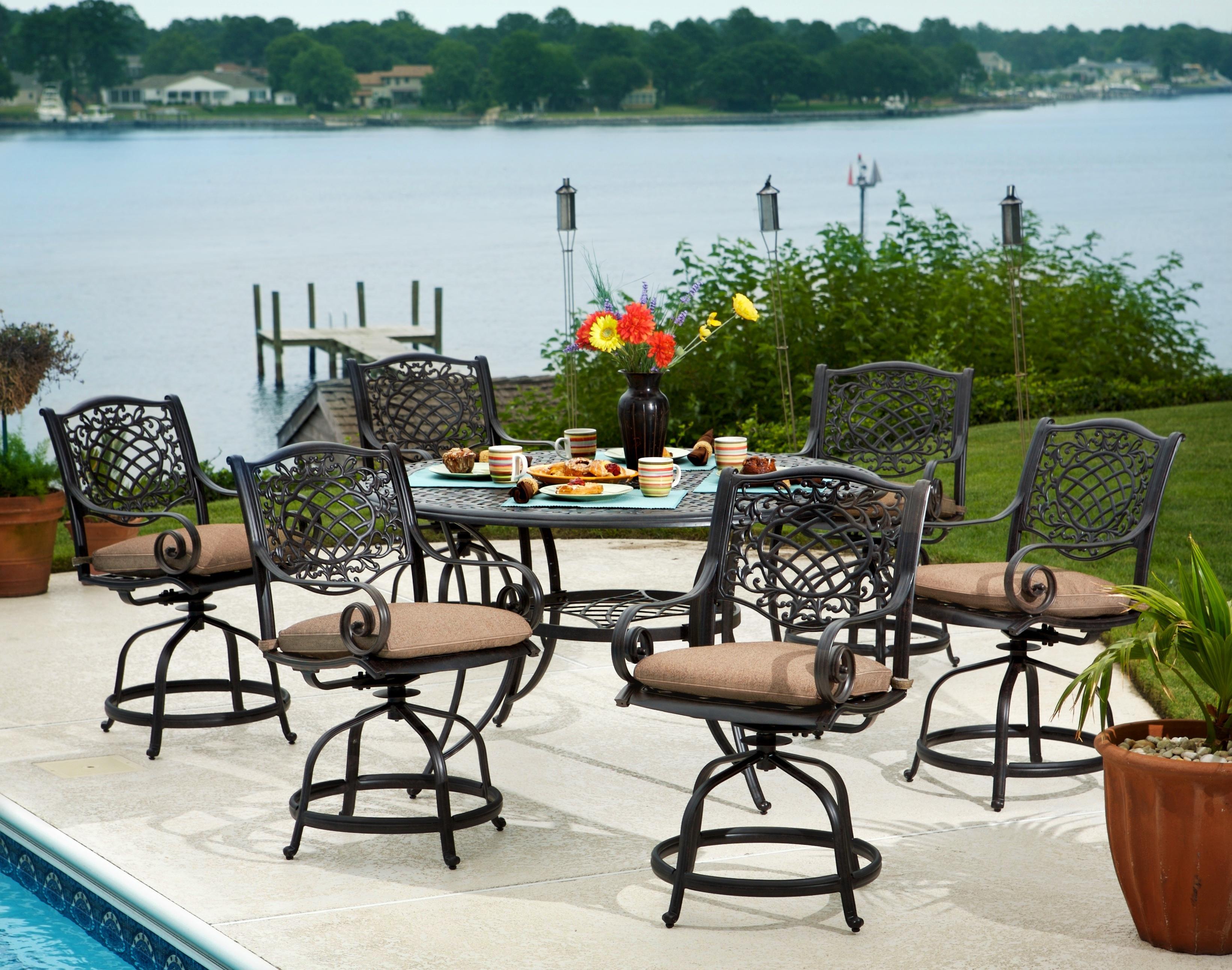 Agio patio furniture agio manhattan outdoor dining set for Agio international alumicast sling chaise lounge