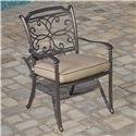 Agio Tradition Transitional Alumicast Outdoor Dining Arm Chair with Seat Pad - AAC03500
