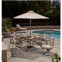 Agio Tradition Transitional Alumicast Outdoor Dining Arm Chair with Seat Pad - AAC03500 - Shown in Dining Set