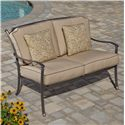 Agio Tradition Transitional Alumicast Outdoor Deep Seat Loveseat with Accent Pillow - ACC05805