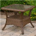Morris Home Furnishings Veranda Outdoor Square End Table with Tempered Glass Top