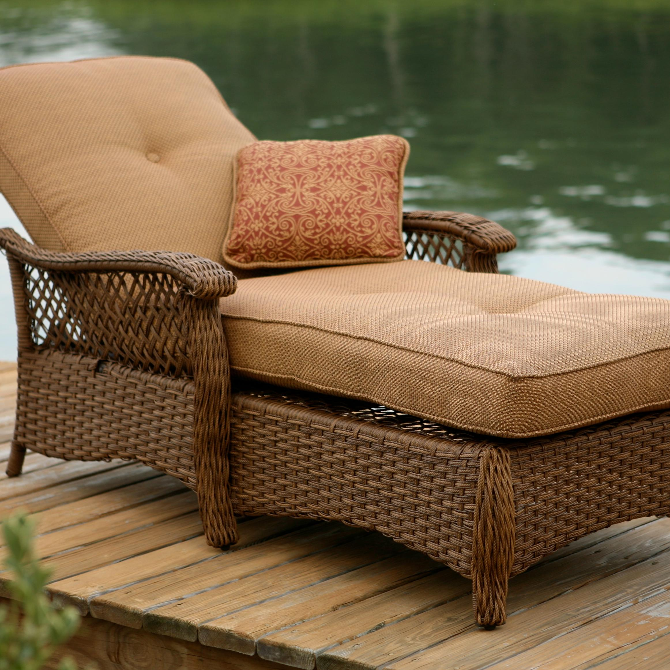 Agio Veranda  Agio Outdoor Tan Woven Chaise Lounge Chair With Seat And Back  Cushion   AHFA   Outdoor Chaise Lounge Dealer Locator