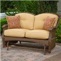 Apricity Outdoor Veranda--Agio Outdoor Tan Woven Double-Glider Loveseat with Cushionand 2 Pillows - 0133339