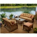 Agio Veranda--Agio Outdoor Tan Woven Sofa with Cushions and 2 Pillows - 0133340