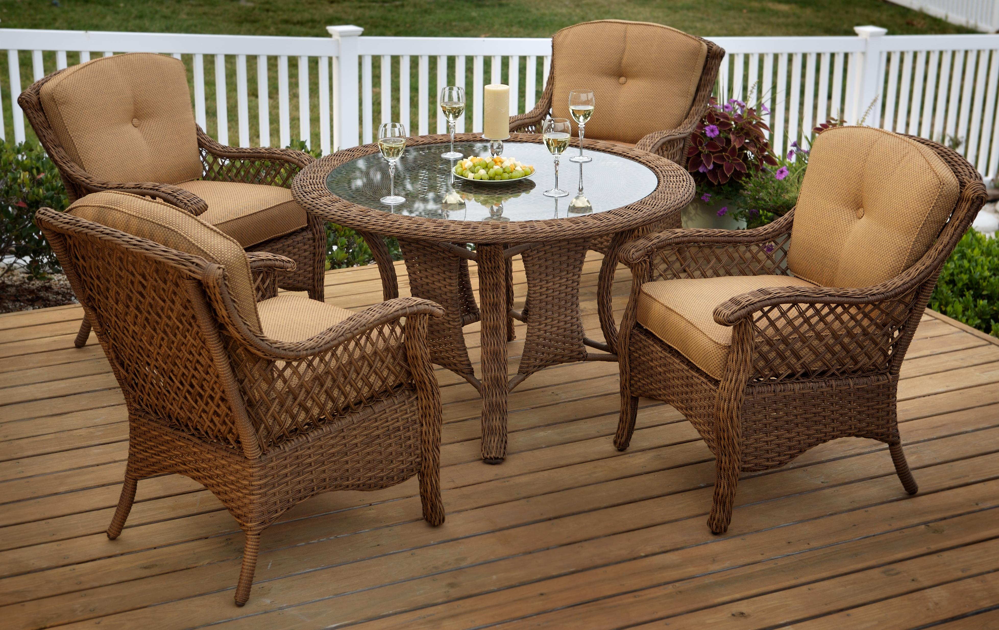 round outdoor dining sets. Contemporary Dining VerandaAgio 5 Piece Outdoor Dining Set With Tan Woven Glass Top Round  Table And 4 Chairs By Agio And Sets D