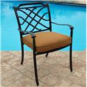 Agio Willowbrook  Transitional Alumicast Outdoor Dining Arm Chair with Seat Pad - AAS05600