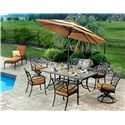 Agio Willowbrook  Transitional Alumicast Outdoor Dining Arm Chair with Seat Pad - AAS05600 - Shown in Dining Set