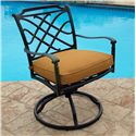 Agio Willowbrook  Transitional Alumicast Outdoor Dining Swivel Rocker with Seat Pad - AAS05601