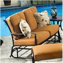Agio Willowbrook  Deep Seat Alumicast Outdoor Glider Loveseat with 2 Accent Pillows - AAS21004