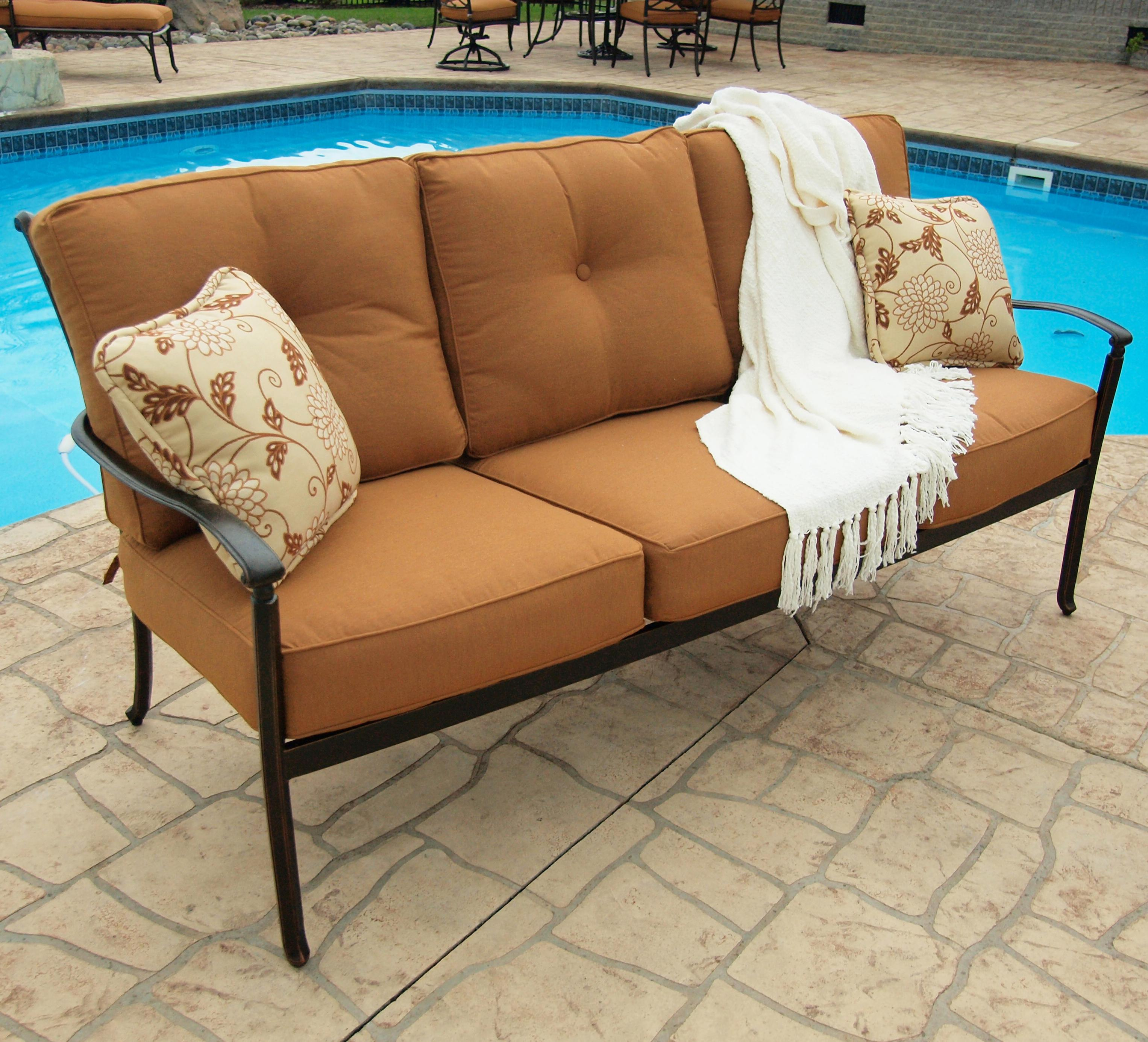 Agio Willowbrook Patio Furniture.Agio Willowbrook Deep Seat Alumicast Outdoor Sofa With 2 Accent