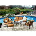 Agio Willowbrook  Deep Seat Alumicast Outdoor Sofa with 2 Accent Pillows - AAS21006 - Shown with Ottoman, Glider Loveseat, End Table, Coffee Table, & Chair