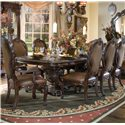 Michael Amini Essex Manor Dining Arm Chair with Leather Seat - Shown with Dining Table and Side Chairs