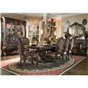 Michael Amini Essex Manor Dining Arm Chair with Leather Seat - Shown with Dining Table, Side Chair, China Hutch, Sideboard and Sideboard Mirror