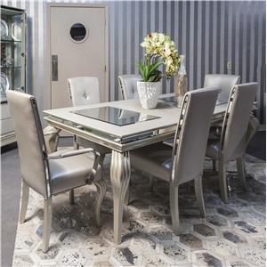 Michael Amini Hollywood Loft 4 Leg Dining Table and Chair Set