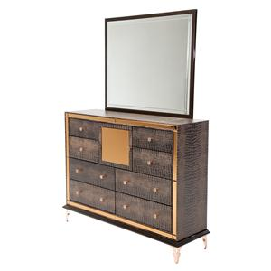Michael Amini Hollywood Loft Upholstered Dresser and Rectangle Mirror