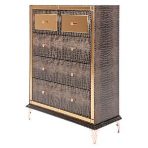 Michael Amini Hollywood Loft Upholstered 5 Drawer Chest