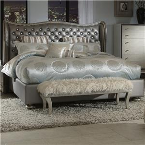 Michael Amini Hollywood Swank Queen Upholstered Bed