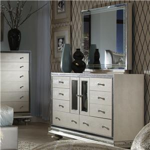 Michael Amini Hollywood Swank Upholstered Dresser and Mirror