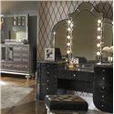 Michael Amini Hollywood Swank Vanity Mirror w/ Light Bulbs - Shown with Vanity