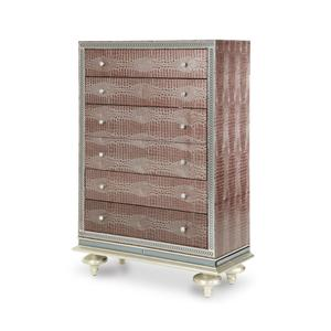 Michael Amini Hollywood Swank Upholstered Five Drawer Chest