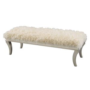 Michael Amini Hollywood Swank Faux Sheepskin Bed Bench