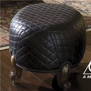 Michael Amini Oppulente All Leather Foot Ottoman