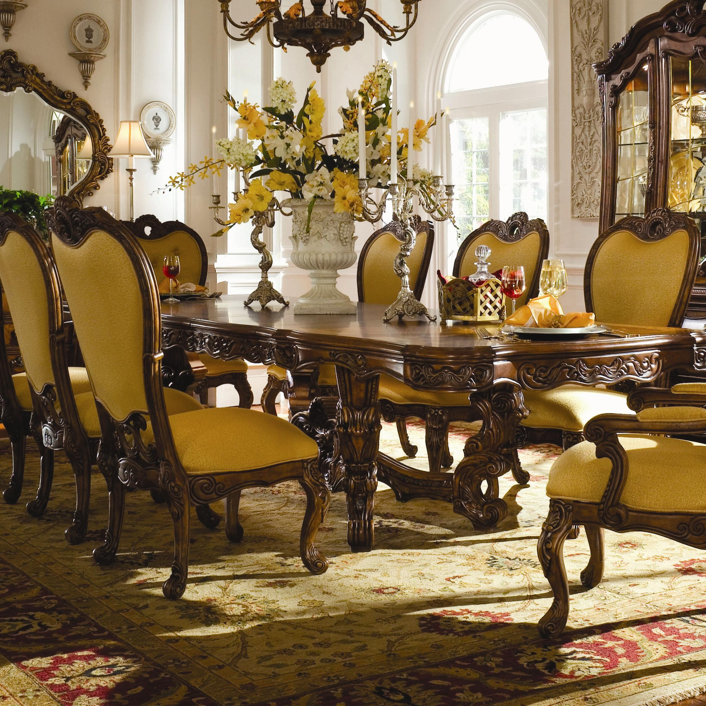 ornate dining room table and chairs. michael amini palais royale dining table - item number: 71002-35 ornate room and chairs