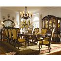 Michael Amini Palais Royale Rectangular Dining Table with Ornate Hand-Carved Accents - Shown with Arm Chairs, Side Chairs, China Cabinet, Sideboard, and Sideboard Mirror