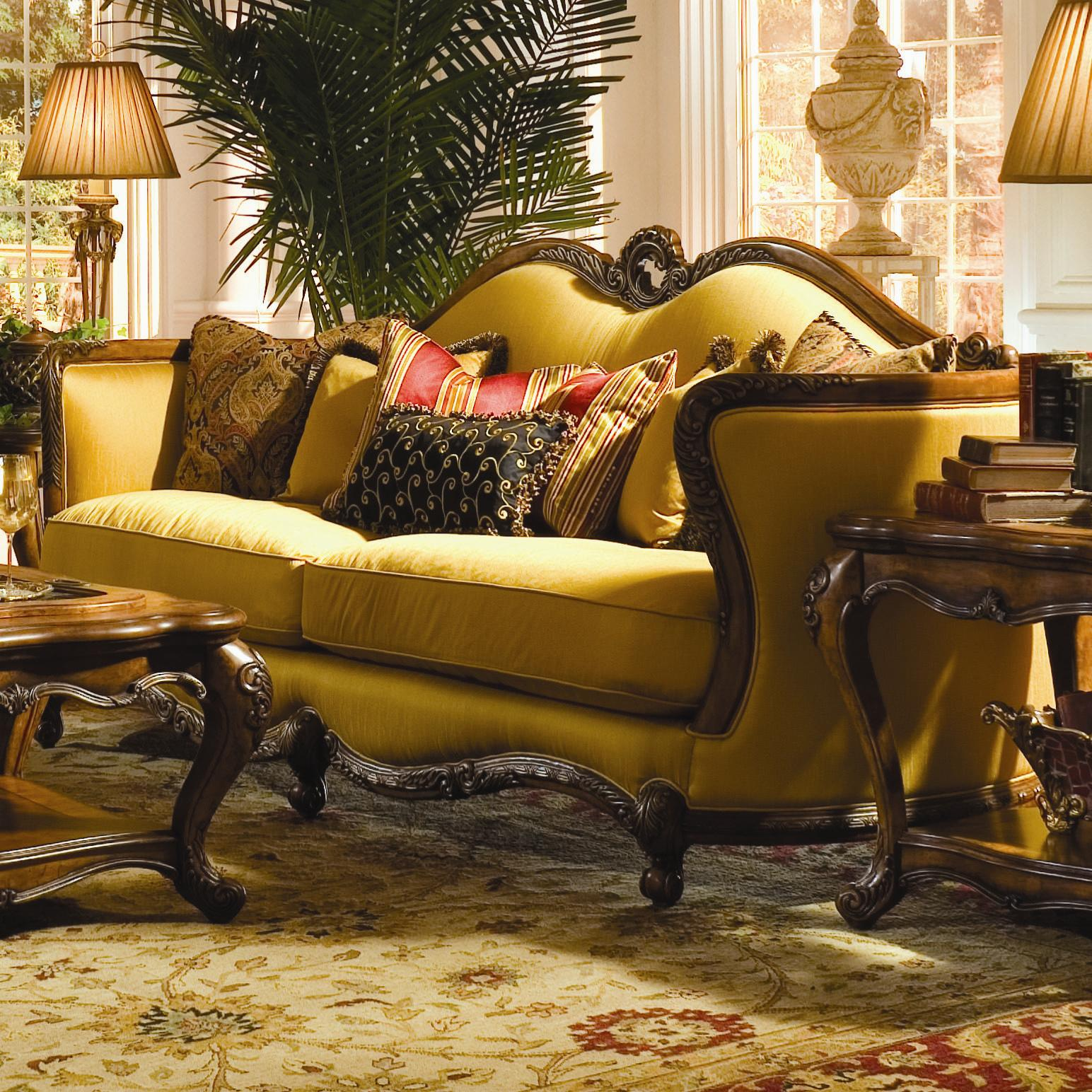 Michael Amini Palais Royale Wood Trim Sofa with Hand-Carved ...