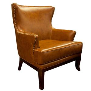 AIF Trading Group Cognac Accent Chair w/ Nailhead