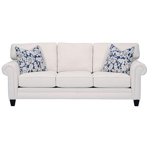 Alan White 269  Traditional Sofa with Rolled and Pleated Arms