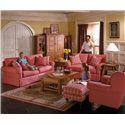Alan White 37400 Two Over Two Casual Loveseat - Shown With Sofa, Ottoman, and Chair