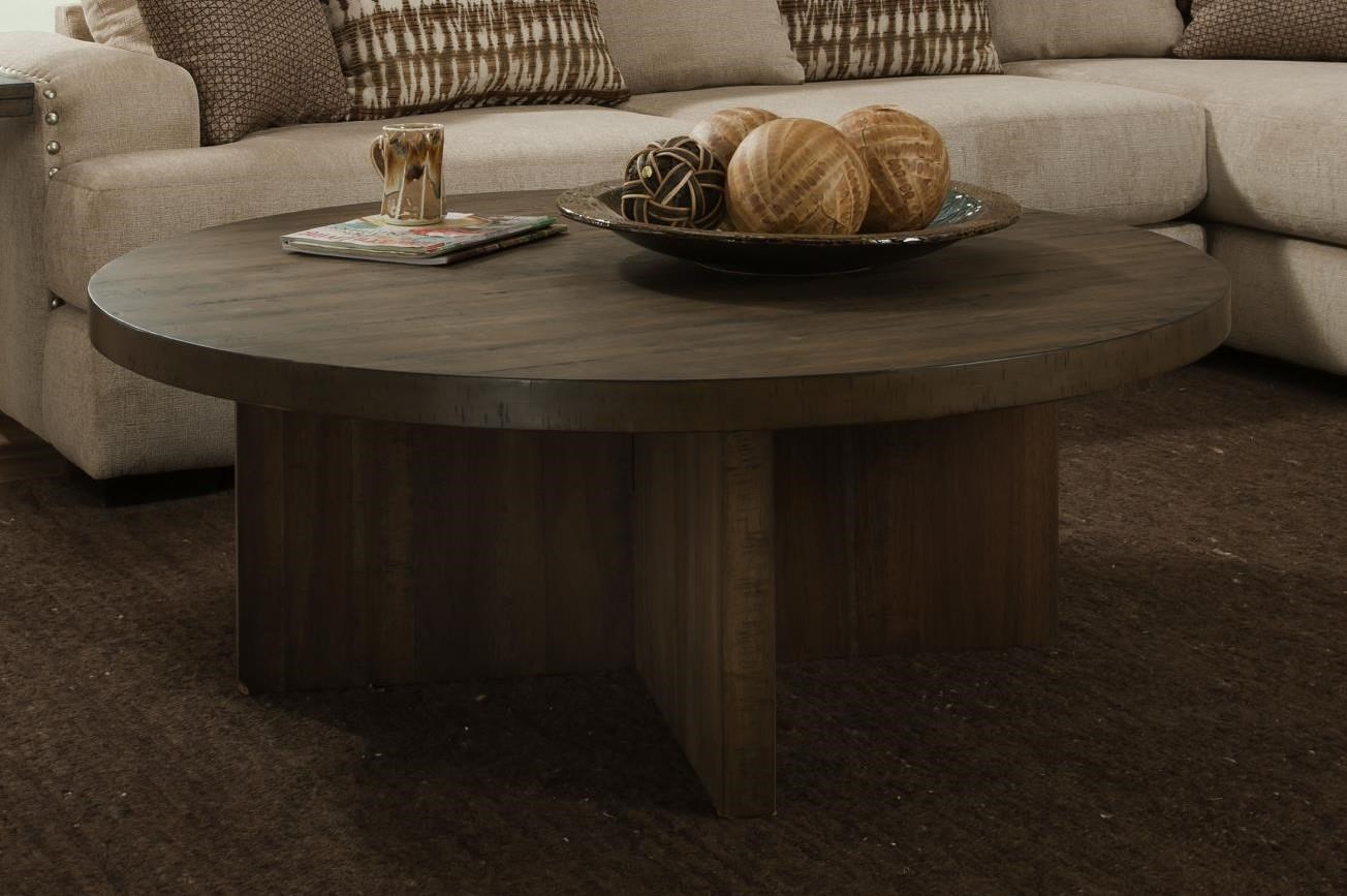 Albany Distressed Walnut Round Cocktail Table - Item Number: 130-COF-DISWAL