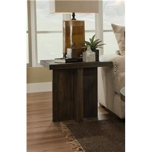 Albany Distressed Walnut Square End Table