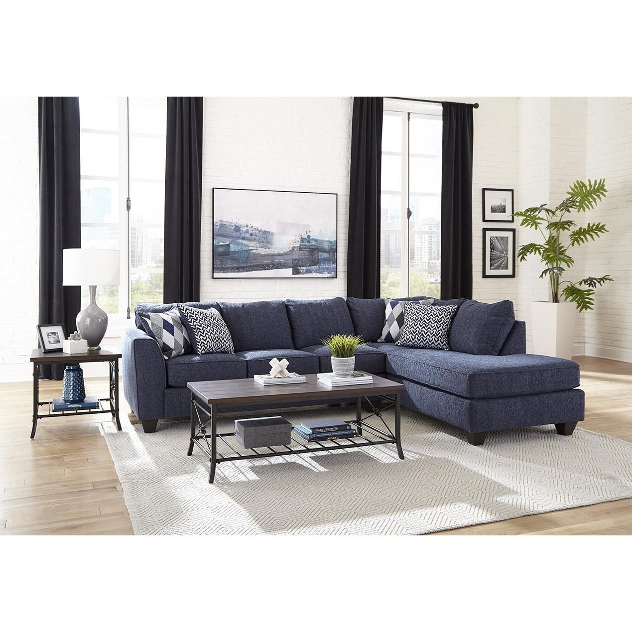 2256 Sectional Sleeper with Chaise by Albany at A1 Furniture & Mattress
