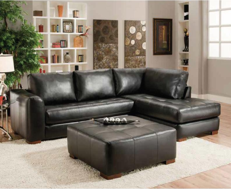 Albany 275 Sectional Sofa with Chaise - Item Number: 275-61+67-CapriBlack