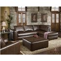Albany 275 Contemporary Sectional Sofa with Chaise - Shown with cocktail ottoman and reclining chair