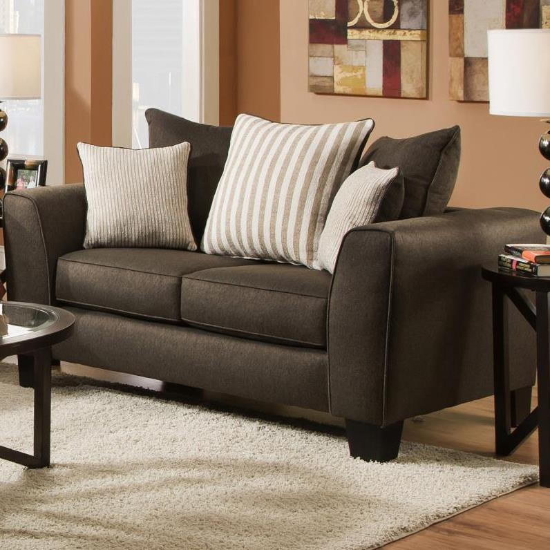 Albany 356 Collection Contemporary Love Seat - Item Number: 356-10-Base Chocolate