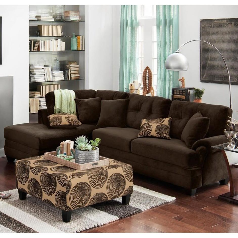 Albany 8632 Sectional Sofa - Item Number: 8632-60+65-Chocolate