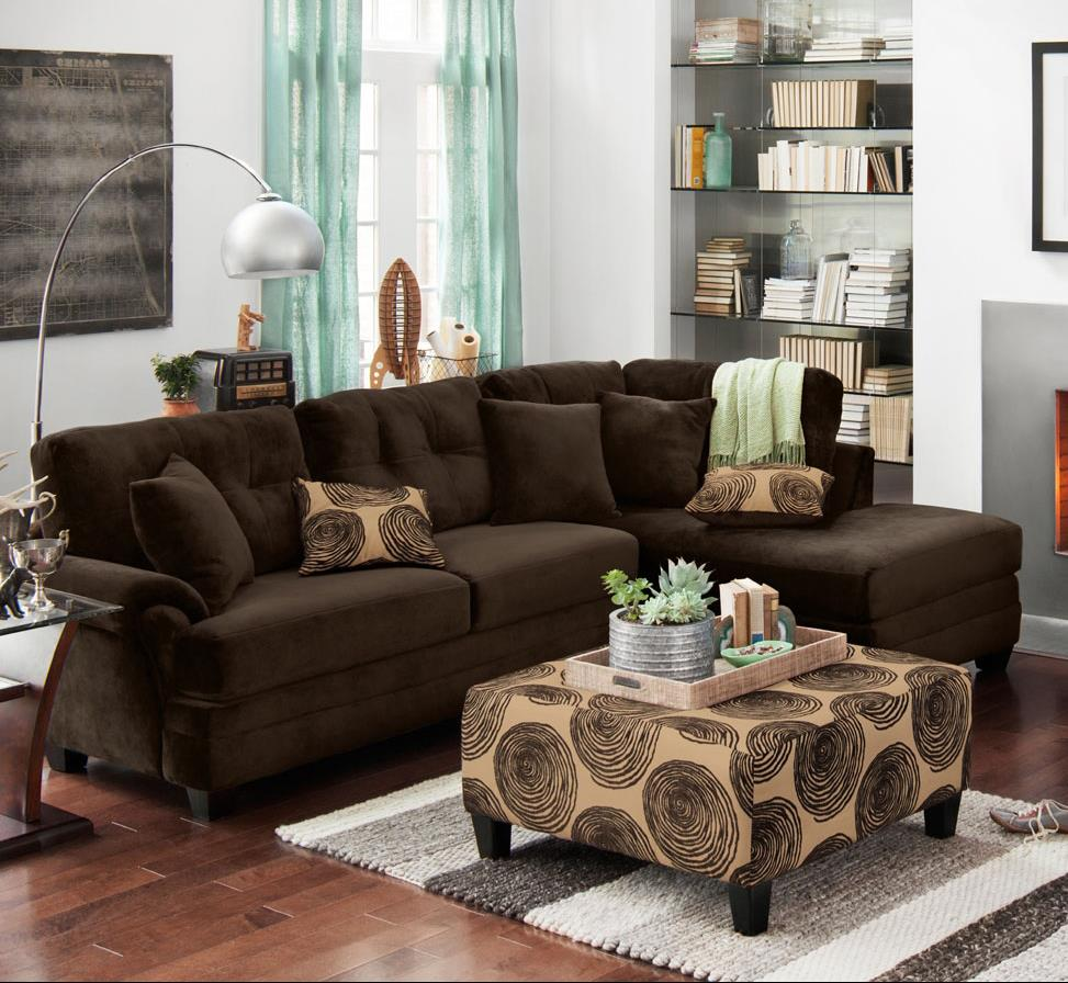 Albany 8632 Sectional Sofa - Item Number: 8632-67+61-Chocolate