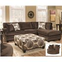 Albany 8642 Transitional Sectional Sofa with Chaise - Shown with Ottoman