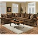 Albany 8645 Transitional Sectional - Item Number: 8645-63+65-Twill Chocolate